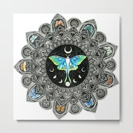 Lunar Moth Mandala Metal Print