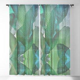 Palm leaf jungle Bali banana palm frond greens Sheer Curtain