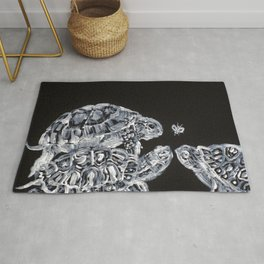 THREE  TERRAPINS AND ONE FLY Rug