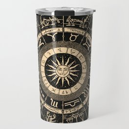 Vintage Zodiac & Astrology Chart | Charcoal & Gold Travel Mug