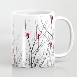 Artistic Bright Red Birds on Tree Branches Kaffeebecher