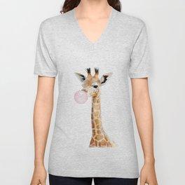 Bubble Gum Baby Giraffe Unisex V-Neck