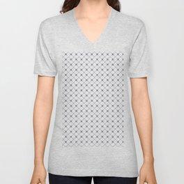 Pantone Lilac Gray Thin Line Stripe Grid (Pinstripe) and Polka Dots on White Unisex V-Neck