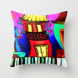 Royal Street Houses Throw Pillow