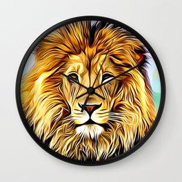 Lion head digital art Wall Clock