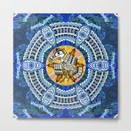 Raven Steals the Sun Pacific Northwest Coast Native Psychedelic Mandala Metal Print