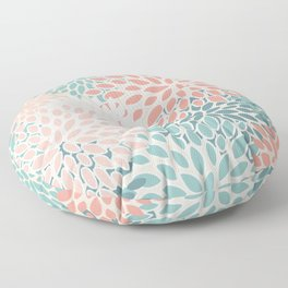 Modern Floral Prints, Teal, Peach, Coral, Abstract Art, Colour Prints Floor Pillow