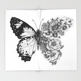Butterfly in Bloom Throw Blanket