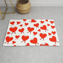 Heart Shape Red Cute Love Character Design Rug