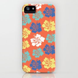Hibiscus flower silhouettes. Yellow, royal blue and aqua blue Hawaiian hibiscus flowers on an orange background. Vintage inspired. iPhone Case