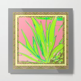 Chartreuse Plant Foliage Pink-Grey Patterns Metal Print