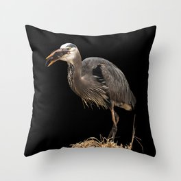 Heron Eating the Mole Throw Pillow