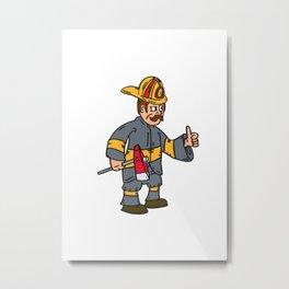 Fireman Firefighter Axe Thumbs Up Cartoon Metal Print