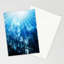 There Is Hope In the Light : Black Trees Blue Space Stationery Cards