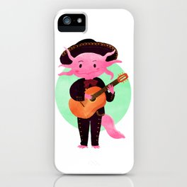 Axolotl with mariachi costume playing the guitar, Digital Art illustration iPhone Case