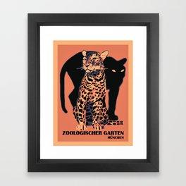 Retro vintage Munich Zoo big cats Gerahmter Kunstdruck