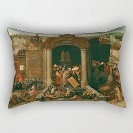 "Pieter Bruegel (also Brueghel or Breughel) the Elder ""Christ Driving the Traders from the Temple"" Rectangular Pillow"