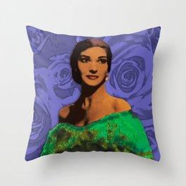 Maria Callas Stenciled Indigo Throw Pillow