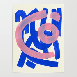 Tribal Pink Blue Fun Colorful Mid Century Modern Abstract Painting Shapes Pattern Poster