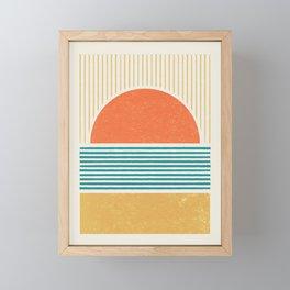 Sun Beach Stripes - Mid Century Modern Abstract Framed Mini Art Print