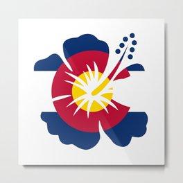 Colorado Hibiscus Flag Metal Print
