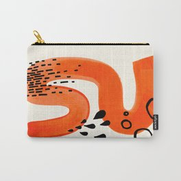 Mid Century Modern abstract Minimalist Fun Colorful Shapes Patterns Orange Brush Stroke Watercolor Carry-All Pouch
