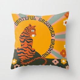 GRATEFUL GROUNDED GROWING Throw Pillow