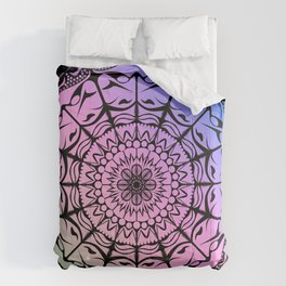 Mandala Gradient on Dark Background Comforters
