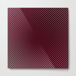 Black and Barberry Polka Dots Metal Print