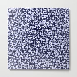 Chinese Spirals Pattern | Abstract Waves | Swirl Patterns | Circles and Swirls | Blue and White | Metal Print