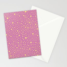 Little yellow love hearts on sugar pink pattern Stationery Cards
