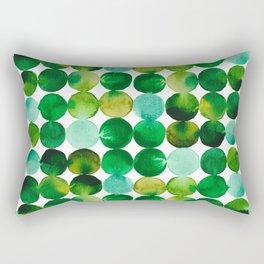 Green Watercolor Circles Pattern Rectangular Pillow