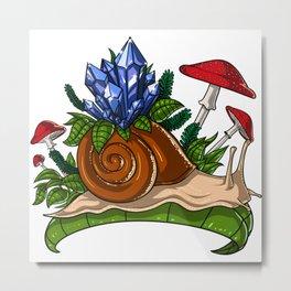 Snail Crystals Metal Print