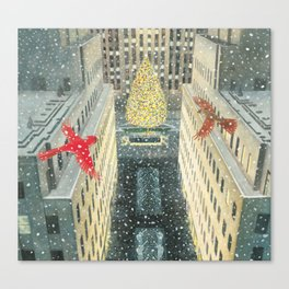 Red and Lulu and the Rockefeller Center Christmas Tree Canvas Print