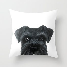 Black Schnauzer, Dog illustration original painting print Throw Pillow