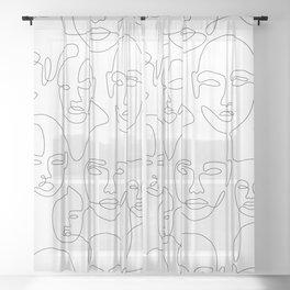 Subtle Faces Sheer Curtain
