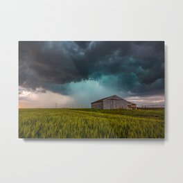 Rainy Day - Storm Passes Behind Barn in Southwest Oklahoma Metal Print