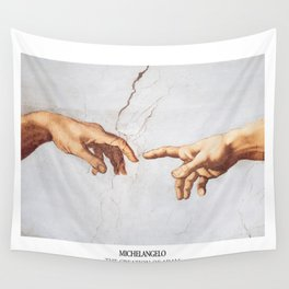The Creation of Adam by Michelangelo Fingers Wall Tapestry