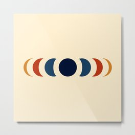 Abstract Minimal Retro Style Moon Phase - Azuma Metal Print