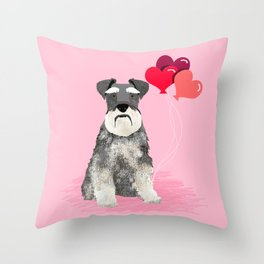Schnauzer love balloons valentines day schnauzers must have pure breed gifts Throw Pillow