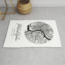 Philadelphia Area City Map, Philadelphia Circle City Maps Print, Philadelphia Black Water City Maps Rug