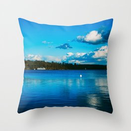 Cloudy Möhne Reservoir Lake 3 Throw Pillow