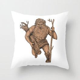 Leshy Tree Trunk Staff Tattoo Throw Pillow