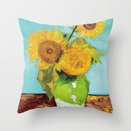 Vincent van Gogh - Three Sunflowers Throw Pillow