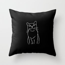 cat sketched on black Throw Pillow