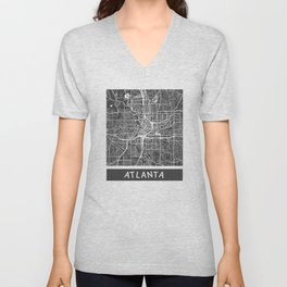 Atlanta map orange Unisex V-Neck