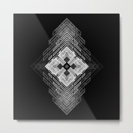 White fractal geometric shapes with compass symbol Metal Print