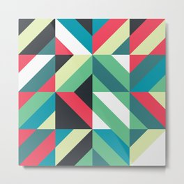 Colorful Shapes Texture, Retro Style, Metal Print