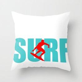 Surfer Surfing Man Wave-rider water-sport Sea Gift Throw Pillow