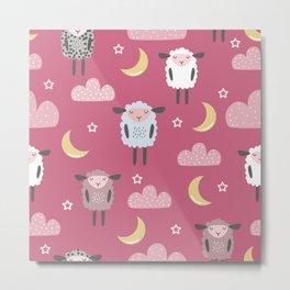 Sweet sleeping sheep pattern pink Metal Print